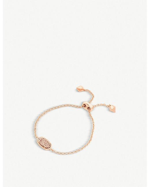 Kendra Scott - Metallic Elaina 14ct Rose-gold Plated And Rose-gold Drusy Chain Bracelet - Lyst