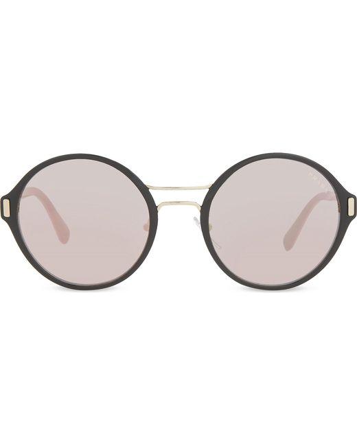 Prada - Metallic Pr57ts Round-frame Sunglasses - Lyst