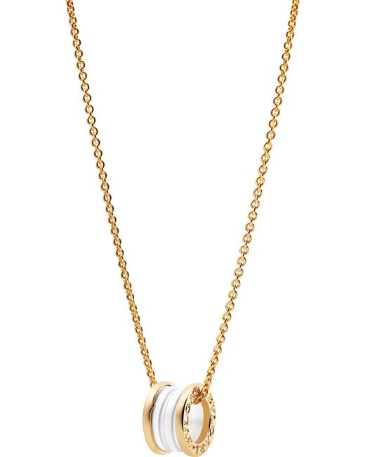 Bvlgari bzero1 18kt pink gold and ceramic pendant necklace in bvlgari metallic bzero1 18kt pink gold and ceramic pendant necklace lyst aloadofball Gallery
