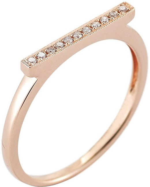 The Alkemistry - Metallic Diamond Bar 14ct Rose-gold Ring - Lyst