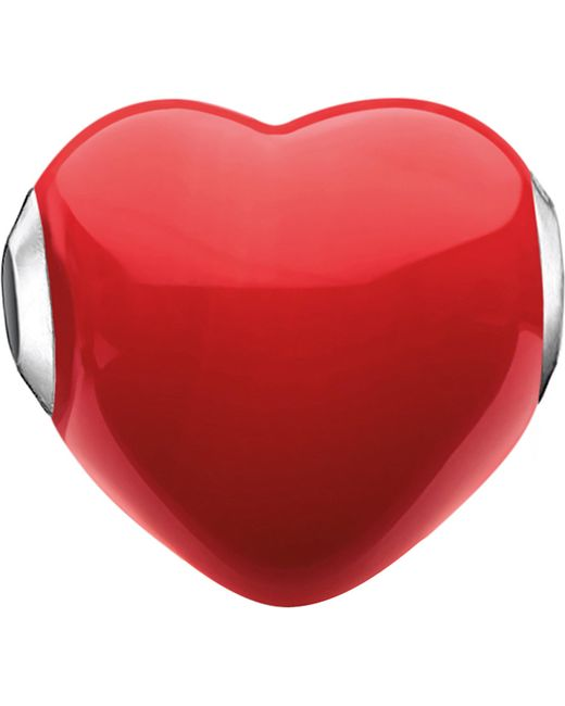 Thomas Sabo | Red Glass Heart Sterling Silver Karma Bead | Lyst