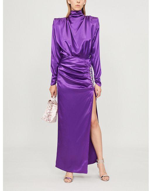 Alessandra Rich - Purple Crystal-embellished Silk-satin Dress - Lyst