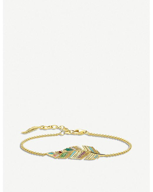 Thomas Sabo - Metallic Tropical Feather 18ct Yellow Gold-plated Bracelet - Lyst