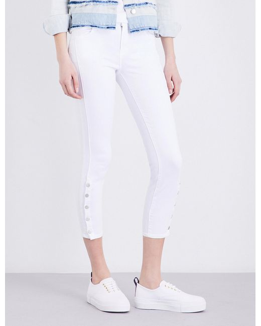 J Brand   White Suvi Cropped Mid-rise Jeans   Lyst