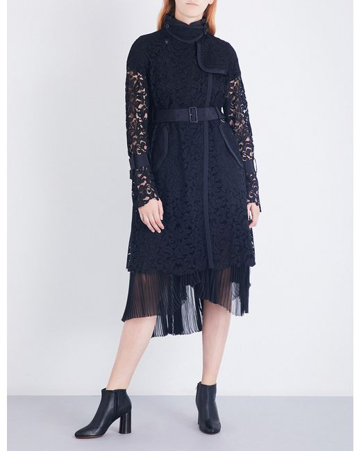 Sacai   Black Buckle-fastened Floral-lace Coat   Lyst