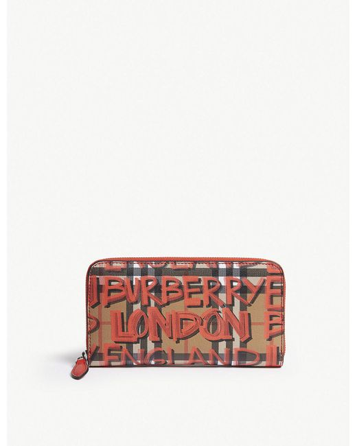 Burberry - Red Graffiti Vintage Check Leather Wallet - Lyst