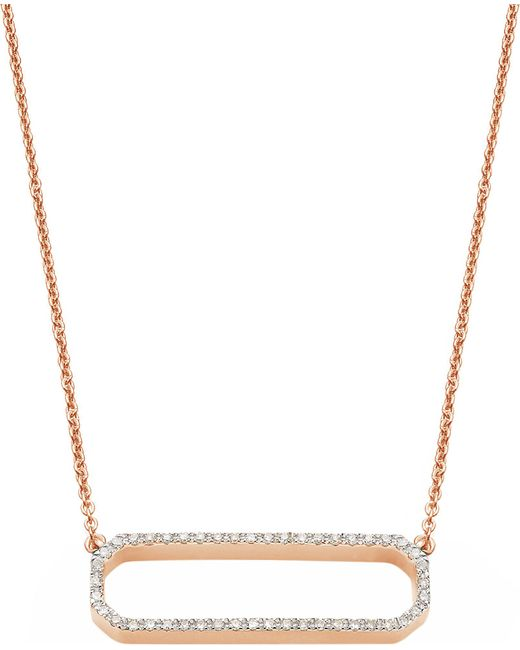 Monica Vinader - Metallic Naida Open Rectangle Rose Gold-vermeil And Diamond Necklace - Lyst