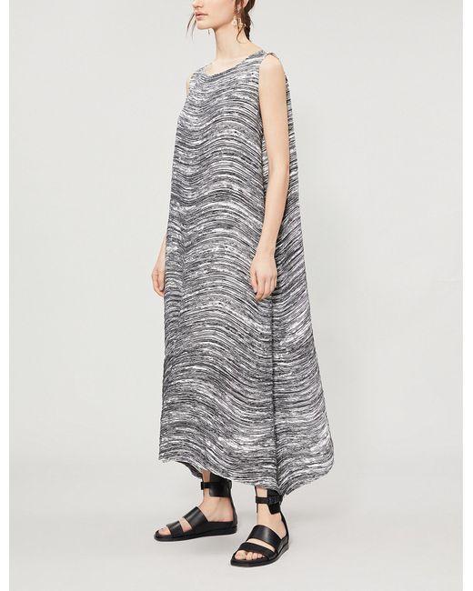 714d55f2cd Women's Gray Sleeveless Loose-fit Textured Dress