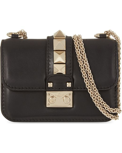 Valentino | Black Rockstud Lock Mini Clutch Bag | Lyst