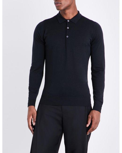 0e742c1ff John Smedley Belper Knitted Polo Jumper in Black for Men - Lyst