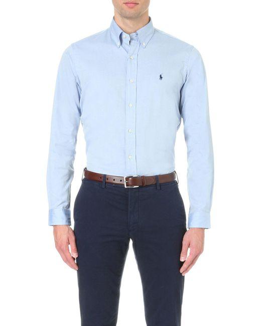 Polo Ralph Lauren | Blue Oxford Custom-fit Single Cuff Shirt for Men | Lyst