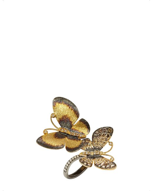 Annoushka - Metallic Butterfly 18ct Gold And Brown Diamond Ring - Lyst