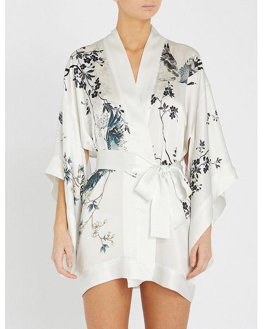 Meng - White Floral-print Silk-satin Kimono - Lyst