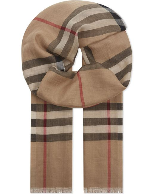 Burberry - Natural Giant Check Wool And Silk-blend Scarf - Lyst