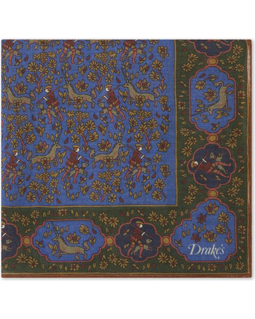 Drake's | Blue Mens White Square Silk-blend Forest Print Pocket for Men | Lyst