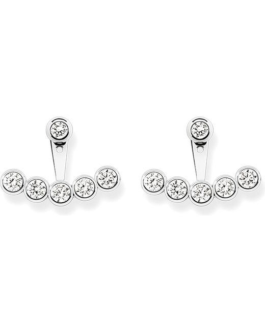 Thomas Sabo - Black Sterling Silver And White Pavé Zirconia Ear Jackets - Lyst