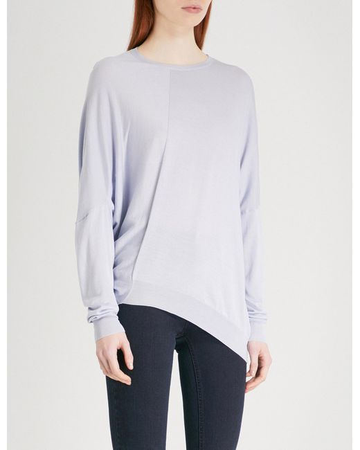 Stella McCartney | Blue Asymmetric Cotton And Wool-blend Jumper | Lyst