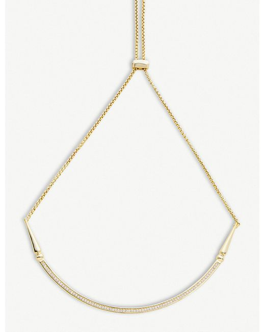 Kendra Scott - White Scottie 14ct Gold-plated And Cubic Zirconia Necklace - Lyst