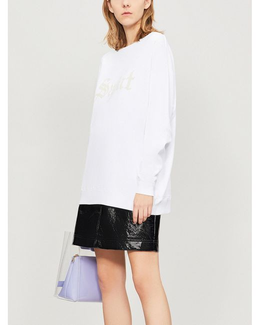 Wildfox - White Saint Slogan-print Cotton-jersey Sweatshirt - Lyst