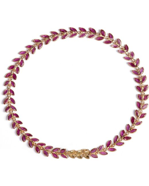 Annoushka - Metallic Ruby Vine 18ct Gold And Ruby Bracelet - Lyst