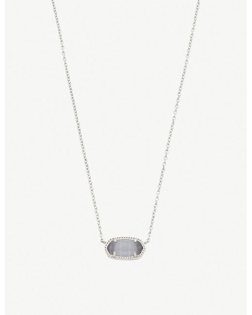 Kendra Scott - Metallic Elisa 14ct Gold-plated And Slate Cat's Eye Necklace - Lyst