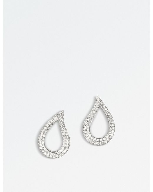 BUCHERER JEWELLERY - Lacrima 18k White-gold And Diamond Earrings - Lyst