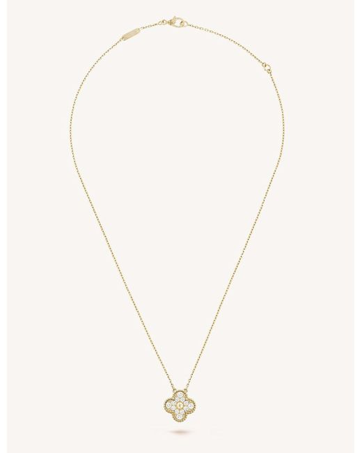 Van cleef arpels vintage alhambra gold and diamond pendant in van cleef arpels metallic vintage alhambra gold and diamond pendant lyst aloadofball Image collections