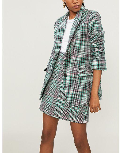 Sandro - Green Tartan Check Wool-blend Jacket - Lyst