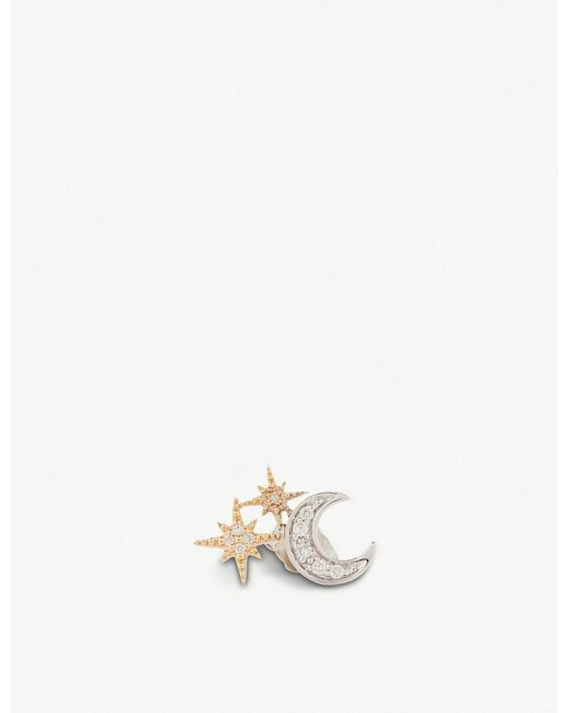 The Alkemistry - Metallic Sydney Evan 14ct Yellow-gold And Diamond Star Moon Earring (left) - Lyst