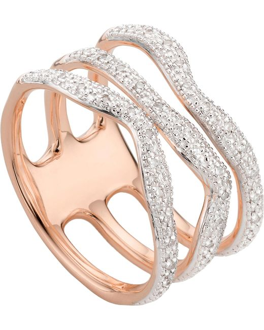 Monica Vinader - Metallic Riva Wave Rose-gold Vermeil Pavé Diamond Triple Ring - Lyst