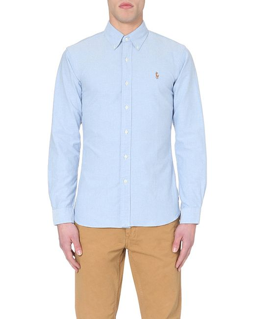 Polo Ralph Lauren | Blue Embroidered Logo Slim Fit Single Cuff Shirt for Men | Lyst