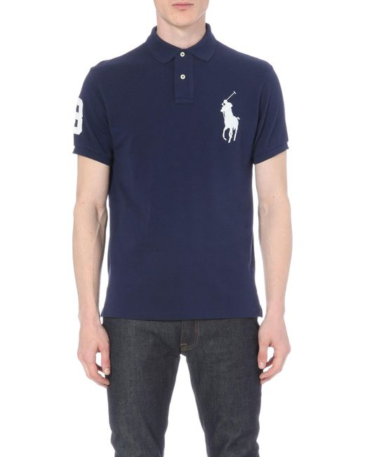 Polo Ralph Lauren | Blue Custom-fit Cotton-piqué Polo Shirt for Men | Lyst