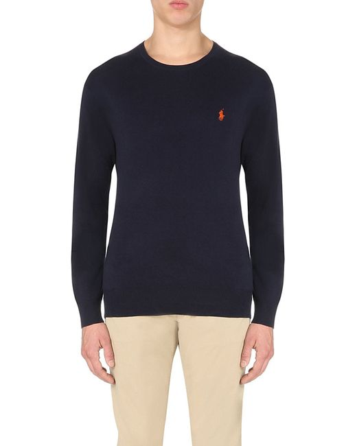 Polo Ralph Lauren | Blue Logo-embroidered Cotton-jersey Top for Men | Lyst