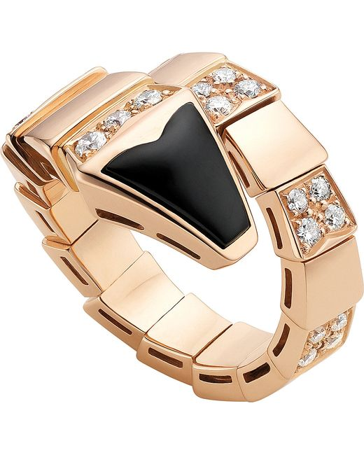 BVLGARI   Metallic Serpenti 18kt Pink-gold And Black-onyx Ring   Lyst