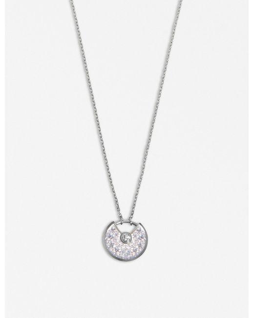 Cartier | Amulette De 18ct White-gold And Diamond Necklace | Lyst