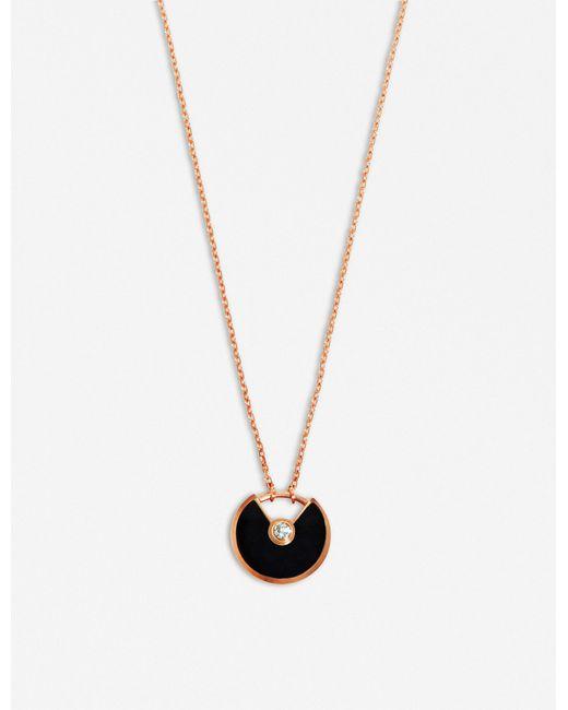Cartier   Amulette De Pink Gold Necklace   Lyst