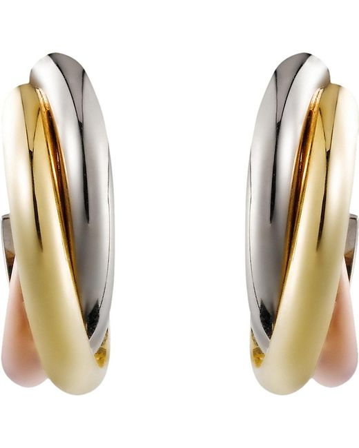 Cartier | Metallic Trinity 18ct Gold Small Mini Earrings | Lyst
