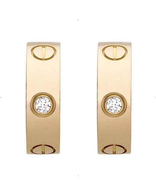 Cartier | Love 18ct Yellow-gold And Diamond Earrings | Lyst