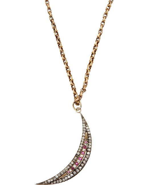 Annina Vogel | Metallic Bespoke Diamond And Ruby Crescent Necklace | Lyst