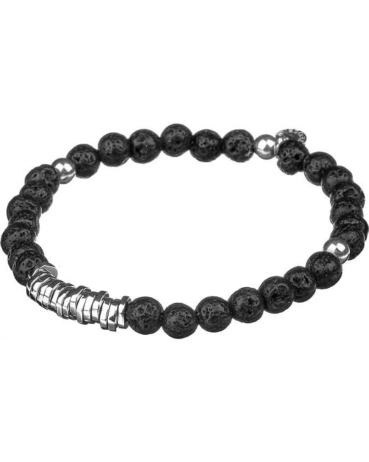 Tateossian | Black Silver Disc Beaded Bracelet for Men | Lyst