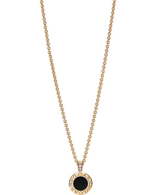 BVLGARI | Black - 18kt Pink-gold Pendant Necklace With Mother-of-pearl | Lyst