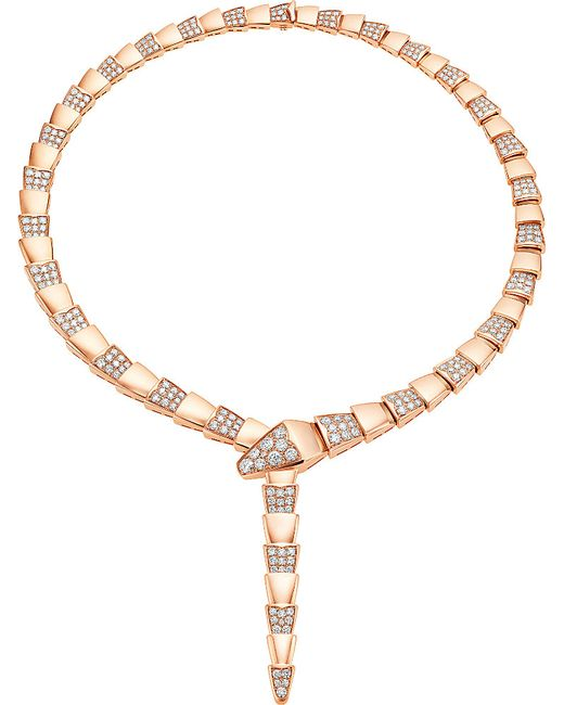 BVLGARI | Serpenti 18kt Pink-gold Necklace With Pavé Diamonds | Lyst