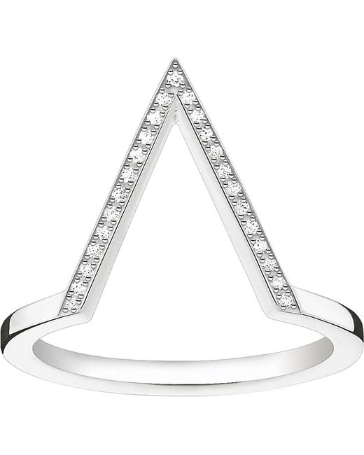 Thomas Sabo | Metallic Triangle Sterling Silver Diamond Ring | Lyst