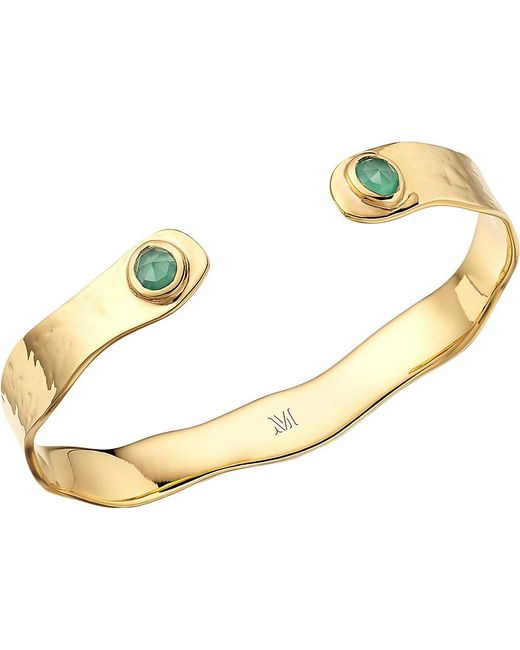 Monica Vinader | Siren Gold-plated Thin Cuff With Green Onyx | Lyst