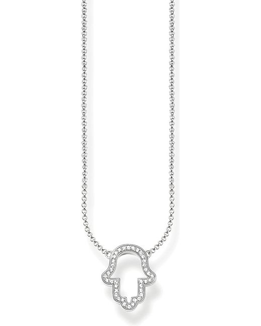 Thomas Sabo | Metallic Fatima's Garden Hand Of Fatima Sterling Silver And Pavé Zirconia Necklace | Lyst