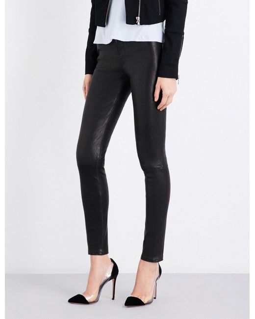 J Brand | Black Maria Skinny Leather Jeans | Lyst
