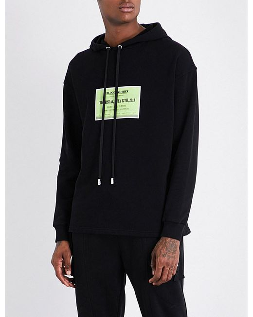 Blood Brother | Black Launch-print Cotton-jersey Hoody for Men | Lyst