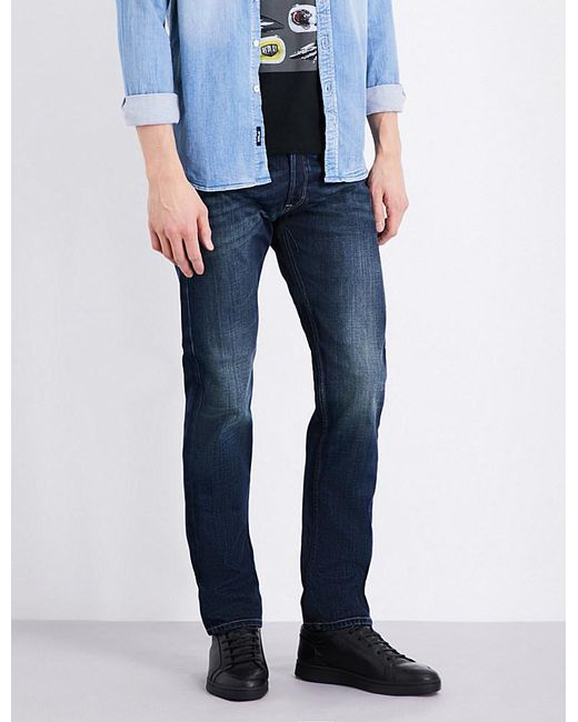 replay grover straight fit tapered jeans in blue for men lyst. Black Bedroom Furniture Sets. Home Design Ideas