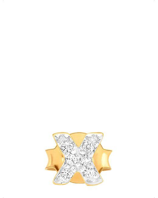 Missoma | Metallic Cross Diamanté 18ct Gold Stud Earring | Lyst