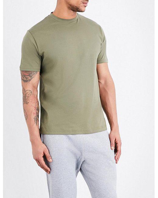 Sunspel | Green Crewneck Cotton-jersey T-shirt for Men | Lyst